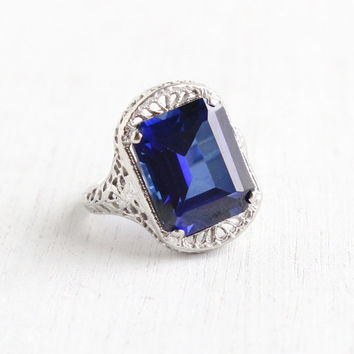 SALE- Vintage 10k White Gold Filigree Sapphire Ring - Antique Size 4 1/4 Art Deco 1920s Dark Blue Gemstone Ring Hallmarked A&S Agnini Singer