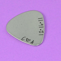 Customized Initials and Date Guitar Pick Necklace or Keychain - Couples Gift - Long Distance Love