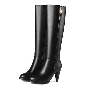 Women Boots Round Toe Western Style Spike High Heel Knee-high Boots Zippers Elegant Ladies Solid Boots
