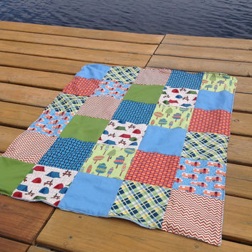 Roughing It, Airsteam Camper Minky backed baby quilt or crib blanket, gender neutrals