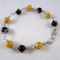USM, Southern, Saints, Black and Gold Bead Football Bracelet
