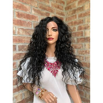 Black Wavy Hair Wig | King and Queen 0419