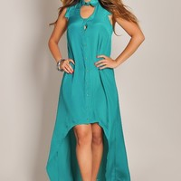 Trendy Silk Jade Green ButtonDown High Low Maxi Dress