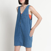 Vintage 90s Short Cotton Denim Jumper Dress | S/M