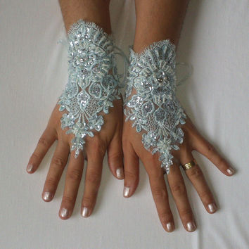 Soft aqua blue beaded sequined bridal gloves