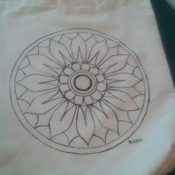 Mandala, Cosmic; Quantum, Cotton Tote Bag,Canvas Bag, Gift Idea, Boho bag, reproduced from an original  hand drowing.