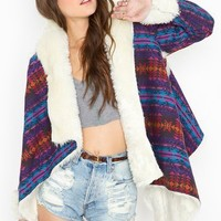 Chelsea Shearling Coat - Southwest in  Sale at Nasty Gal