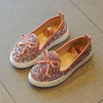 PINK MERMAID GLITTER JEWELED SUEDE SLIP-ON FLAT BOW TIE BLING TENNIS SHOES