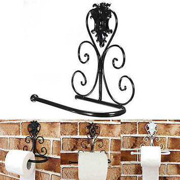 1X Vintage Retro Iron Toilet Paper Towel Rolls Holder Bathrooms Walls Mount HU