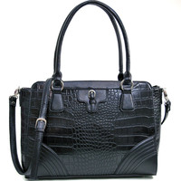 BLACK FAUX ALLIGATOR CROCODILE BUCKLE ACCENT HANDBAG