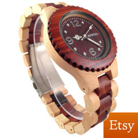 Beautiful Sandal & Maple Wood Watch + FREE Mini Buddha