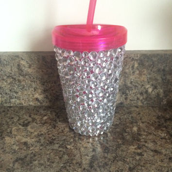 Clear Rhinestone Infuser Water Tumbler, 16oz, Pink Lid