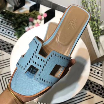 Hermes Women Trending Fashion Embroidery printing Casual Shoes Sandal Slipper Heels Blue