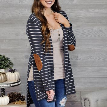*  Denisse Striped Cardigan With Elbow Patches : Charcoal