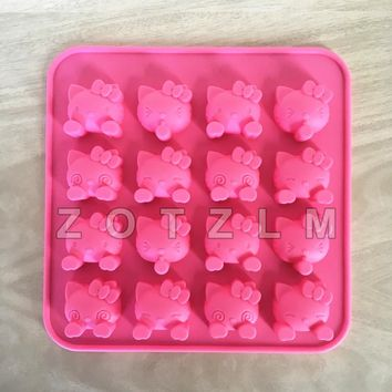 16 Holes Cartoon Cat Cake Mold Cute Hello Kitty Shape Silicone Mold Cookie Fondant Pudding Biscuit Candy Chocolate Mold GJD157