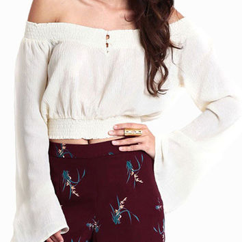 White Bell Sleeve Off Shoulder Garter Cropped Top