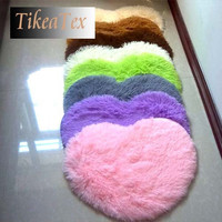 4.5cm thicken 40*50cm Japanese Style modern Heart Shape shaggy Carpet / rug / doormat customize for size 70*80 and 100*120