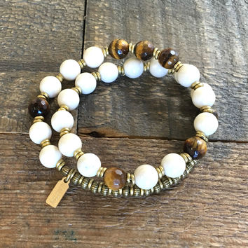 Change and Prosperity' Riverstone and Tigers Eye 27 Bead Wrist Mala Bracelet
