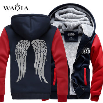 Hot New The Walking Dead Hoodie Zombie Daryl Dixon Wings Winter Fleece Mens Sweatshirts Free Shipping