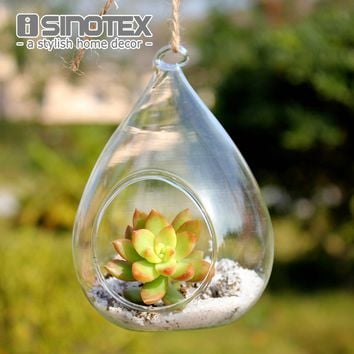 Terrarium Glass Vaso 12*8cm 4.7*3'' Waterdrop Hanging Vase Dinner Planter Container Pots Home Wedding Decor