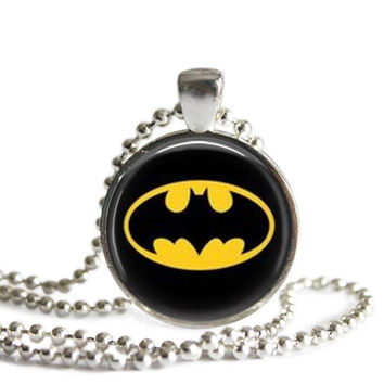 Batman Silver Plated Picture Pendant Necklace