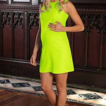 Neon Yellow Stretchy Sleeveless Summer Shift Dress