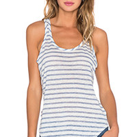 ATM Anthony Thomas Melillo Linen Tank Top in Blue Stripe