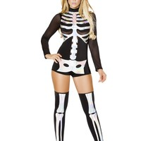 Bestselling Women's  Black Romper Long Sleeves Jackie Skeleton Halloween Costume