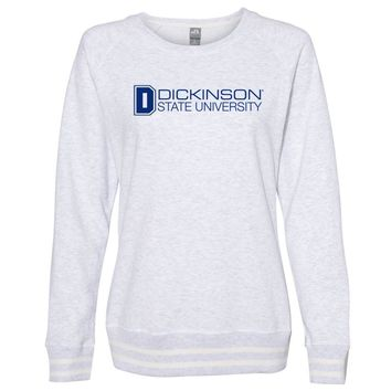 Official NCAA Dickinson State Blue Hawks PPDIU01 Women's Crewneck Sweatshirt with White Striped Edges