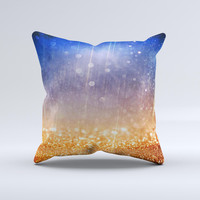 The Blue and Orange Scratched Surface with Glowing Gold ink-Fuzed Decorative Throw Pillow