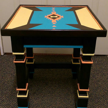Hand-Painted & Restored Vintage Wood Accent Table, Side Table, End Table-Southwestern Aztec Coral, Turquoise, Yellow