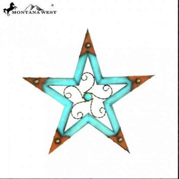 Montana West Wood Star Shape with Faux Leather Trim Wall Decor