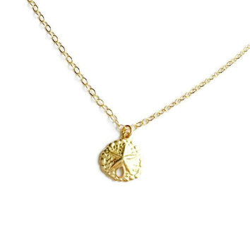 14kt Gold filled Tiny Sand Dollar Necklace. Dainty and Minimal Beach inspired Jewelry. Gift for Her