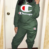 Champion New fashion embroidery letter long sleeve top and pants two piece suit Army Green