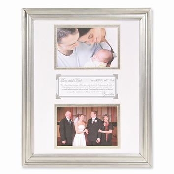 Walking with Me Son to Parents Double Silver Finish Photo Frame