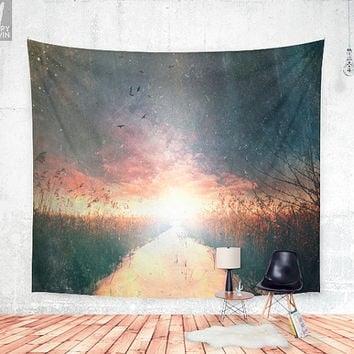 Dreams of dust Wall tapestry - Beautiful wanderlust wall decor photograph with a adventure and explore feel, with snow and landscape.