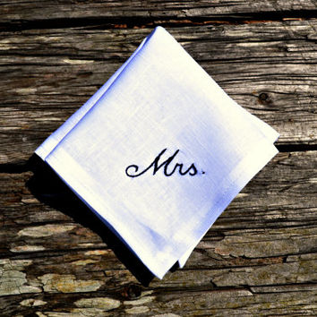 New Bride Handkerchief, Wedding Hankerchief for Women, Mrs. Hand Embroidered Hankie, Wedding Handkerchief for Bride, Bridal Handkerchief