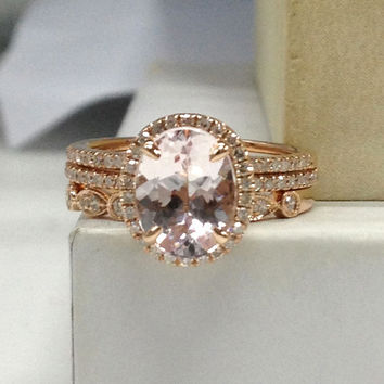 Morganite Wedding Ring Set!Diamond Engagement Ring 14K Rose Gold,6x8mm Oval Cut Pink Morganite,Art Deco Stacking Matching Band/eternity band