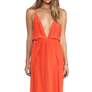 Deep V-Neck Strappy Backless Maxi Dress