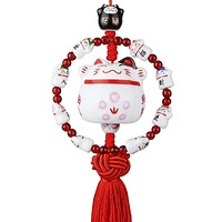Lucky Cat Chinese Knot Decoration Pendant Ceramic Wind Chime