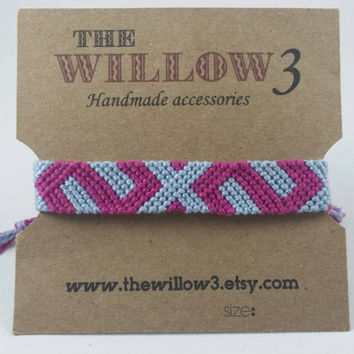 Pink and Light Blue Handmade Friendship Bracelet - 12 Strands