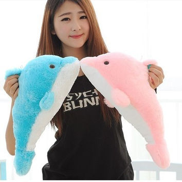 1pcs 27cm Lovely Stuffed Blue Dolphin Toy Doll Baby Toy Kids Toy Children's Day Gift