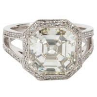 Certified 5.28 carat Asscher cut Diamond Engagement ring set in Platinum and Diamond Mounting
