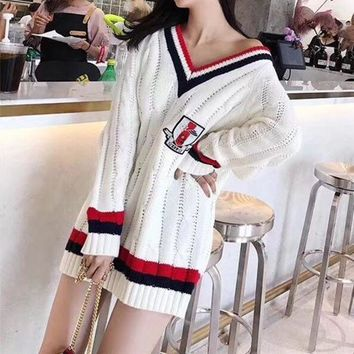 LMFON Gucci' Women Badge Embroidery Multicolor Stripe V-Neck Middle Long Section Long Sleeve Knit Sweater