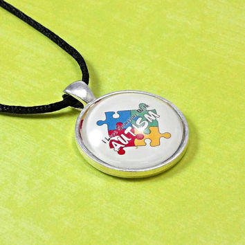 I love someone with autism  necklace, autism pendant, autism necklace, autism jewelry, puzzle piece necklace, autism awareness gifts.