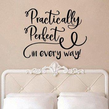 """Mary Poppins Wall Decal Sticker Practically Perfect In Every Way Swirls V2 26.3""""w x 21""""h"""