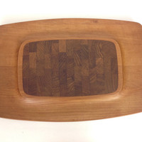 DANSK Teak Tray Danish Modern Cheese Board Vintage Cutting Board Eames Era Decor Mid Century Modern Serving Tray 4 ducks Jens Quistgard IHQ