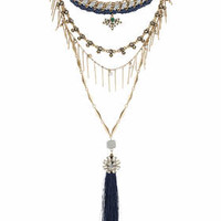 Premium Tassel Drop Necklace - Blue