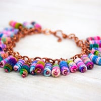Beaded Bracelet, Boho, Shabby Chic, Fabric Textile Beads on Copper Chain