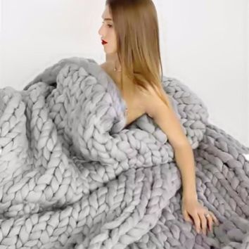 Blanket Hand Weaving Photography Props Blankets Crochet Llinen Soft Knitting Blanket Soft Thick Line Giant Yarn Knitted Blanket
